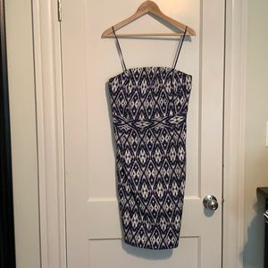 Navy Ikat-print dress